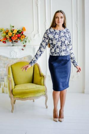Синяя шерстяная юбка