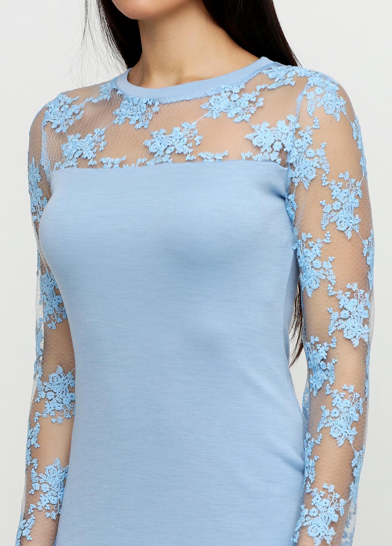 632ba65c061 ... Голубое платье футляр с кружевом ...